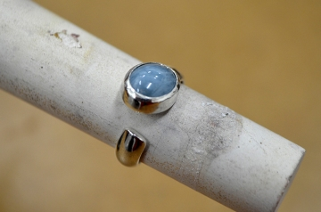 Blue Calcite Ring with unique band
